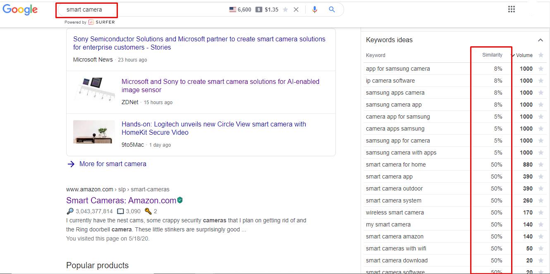 a screenshot showing secondary keywords similarity to the main keyword using Keyword Surfer