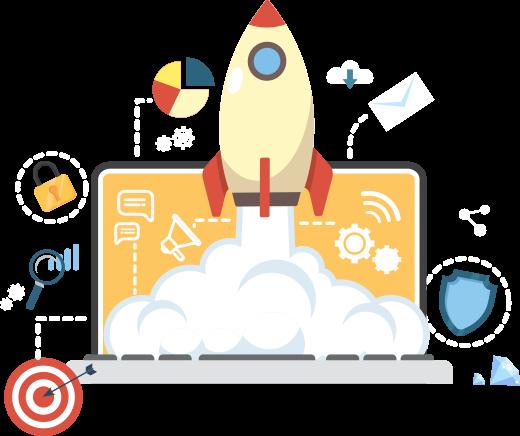 seo laptop rocket graphic image